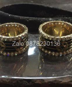 cặp nhẫn lông voi vàng 18k đính đá