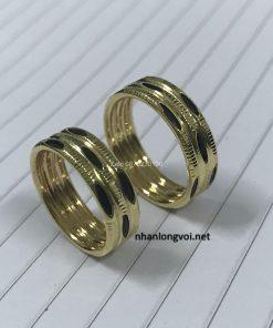 nhẫn cặp 3 lông voi sole vàng tây 18k