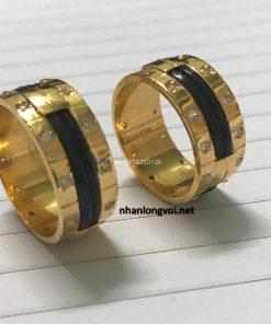 cặp nhẫn lông voi làm tay vàng 18k