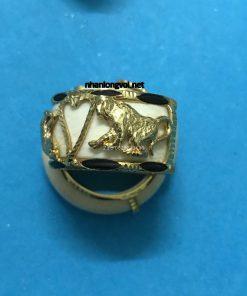 nhẫn vàng nam hình con khỉ vàng 18k luồng lông voi
