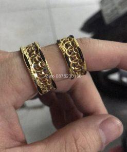 nhẫn lông voi kim tiền vàng 18k