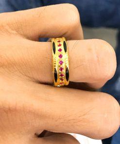 nhẫn lông voi nữ vàng 18k đính ruby