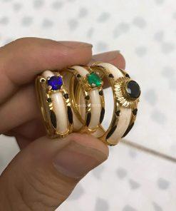 nhẫn ngà voi nữ vàng 18k đính đá xanh, đen viền lông voi